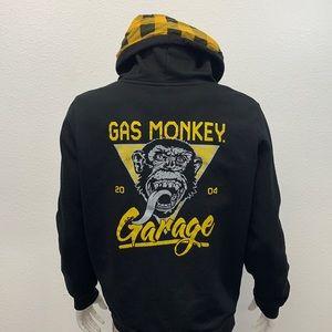 Gas Monkey Garage Dallas Texas Black Yellow Full Zip Hoodie Jacket Size Large